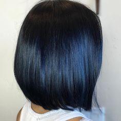 Sleek+Black+Bob+With+Blue+Highlights
