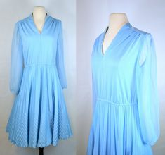 1970s Light Blue Dress Light blue dress with long sheer sleeves, accordion/chevron skirt. Elastic waist band and cuffs along with a v-neck
