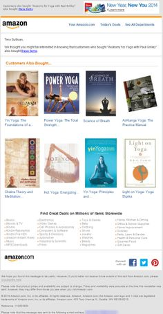 "SL:'""Anatomy for Yoga with Paul Grilley""' You might also like post purchase email example from Amazon"