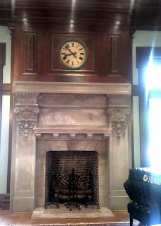 Nyack Library, Nyack, NY: The Clock and Fireplace  in the Carnegie Room  of the Nyack Public Library