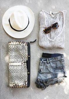 white hat + micro denim shorts + dark sunnies + white mesh top + croc clutch = stylish summer