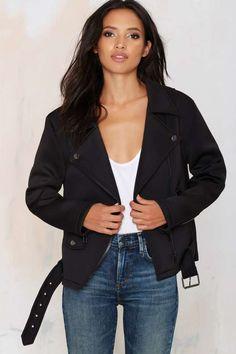 Nasty Gal Tough Love Neoprene Moto Jacket