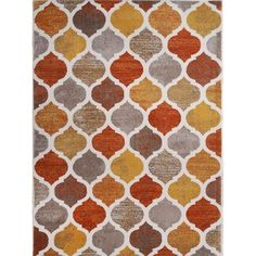 "Home Dynamix Tremont Collection Contemporary Beige-Orange Area Rug (5'2"" x 7'2"") (Beige-Orange Transitional 5'2"" x 7'2"" Area Rug), Orange, Size 5'2"" x 7'2"" (Plastic, Geometric)"