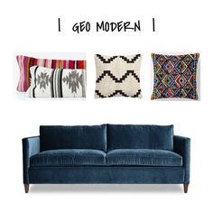 ONE COUCH   THREE WAYS - How to change the vibe of your home around large pieces of furniture. See how I created three distinct styles using the same #bluecouch :) www.designworthyblog.com #blog #blue #couch #sofa #pillows #throwpillows #geometric #modern #textile #woven #pattern #kilim