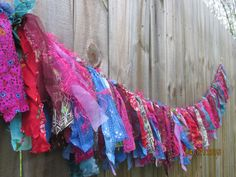Crazy Quilt Kaleidoscope Carnivale Boho Gypsy Garland Banner BOHEMIAN CHIC bunting silk batik fringe exotic thai wall hanging rag scrap by BeeboANDBijou on Etsy