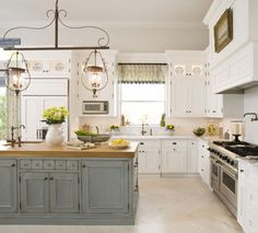 16 Trendy Kitchen Colors With White Cabinets Blue Light Fixtures White Kitchen Cabinets, Painting Kitchen Cabinets, Kitchen Paint, Kitchen Tiles, Kitchen Colors, Kitchen Design, Kitchen Decor, Blue Cabinets, Kitchen Wood
