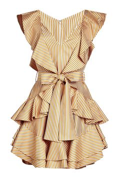 Zimmermann Silk-blend Twill Dress In Beige Frilly Dresses, Ruffle Dress, Striped Dress, Pretty Dresses, Mini Dresses, Summer Day Dresses, Golden Dress, Dress To Impress, Designer Dresses