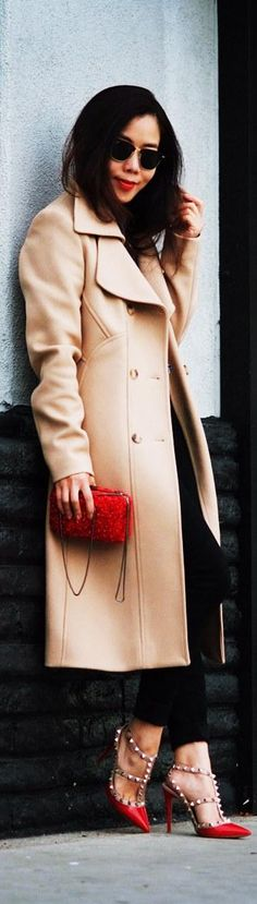 Camel Coat and Valentino Rockstud Shoes   http://www.halliedaily.com/camel-coat-valentino-rockstud-shoes/