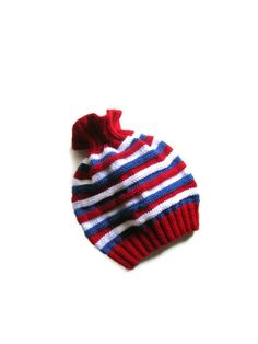 Handmade Knit Red White and Blue Striped Hat  Adult by NurayAytac, $28.00