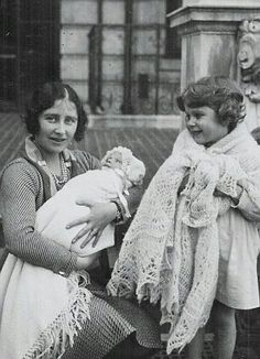 Queen Elizabeth with Princess Elizabeth and the newly-born Princess Margaret