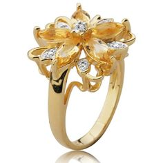 18k Gold Over Sterling Silver Citrine and Diamond Accent Flower Ring   Joolwe.com Online Jewelry Store
