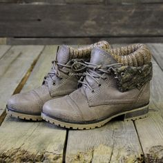 Mountain Trek Taupe Cuffed Ankle Boots