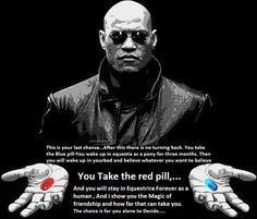 I will take the red pill and ask twilight to change me into a pony :)