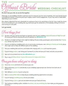 free printable offbeat bride wedding checklist