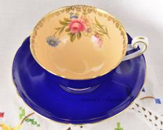 Cobalt Shelley tea cup and saucer