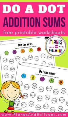 Kindergarten addition to 10 worksheets - a great dot marker math activity. Kindergarten Addition Worksheets, Addition Activities, Kindergarten Math Activities, Kindergarten Lesson Plans, Homeschool Math, Book Activities, Addition Games, Subtraction Kindergarten, Kindergarten Christmas