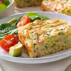 Make this easy zucchini slice recipe adding bacon for extra flavour. A great way to get the kids to eat vegetables. Recipe by Western Star butter Vegetarian Zucchini Slice, Easy Zucchini Slice, Zuccini Slice, Zucchini Bites, Vegetable Slice, Vegetable Dishes, Vegetable Recipes, Savoury Slice, Nigella