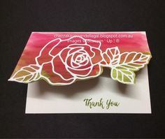 This rose and leaves was cut from white cardstock with the Rose Garden Thinlit.  The background is Rose Red and Old Olive watercolors, and the border was handcut following the pattern of the Rose.  DIY Thank you card