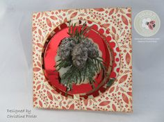 Christine Pooler posted instructions on how to create this card on the Elizabeth Craft Designs blog: http://blog.elizabethcraftdesigns.com/2015/11/frosty-pinecones-and-holly/