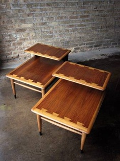 Richmond: Pair Mid Century Modern Lane Acclaim Step End Tables $250   Http:/