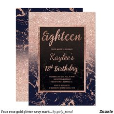 Shop Faux rose gold glitter navy marble Birthday Invitation created by girly_trend. 18th Debut Theme, Debut Themes, 18th Birthday Party, Birthday Party Invitations, Wedding Invitations, Birthday Ideas, Rose Gold Glitter, Youre Invited, Invitation Cards