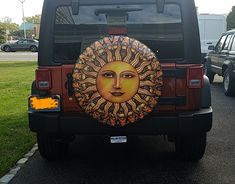 Aurora Sun spare tire cover custom made by Tire Cover Central to fit your exact tire size. Custom Tire Covers, Spare Tire Covers, Painted Tires, Tire Size, Dan Morris, Sun Stock, Boat Seats, Aurora, Jeep