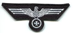 WWII German Luftwaffe Breast Eagle Iron Cross. White on Black Wool Panzer Colour.