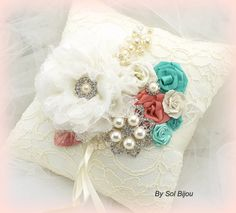 Champagne Ring Bearer Pillow - Bridal Pillow in Champagne, Nude and Ivory with Lace, Brooch, Jewels and Pearls- Vintage Passion