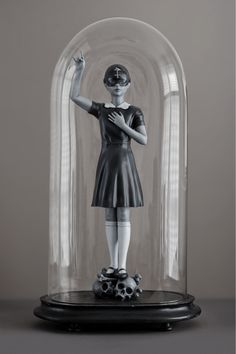 """Black Flame  Acrylic Paint on Polyamide 3D Printed Sculpture w/Antique Glass Dome/ Edition of 3. Sculpture size: 42 cm / 16.5"""" 