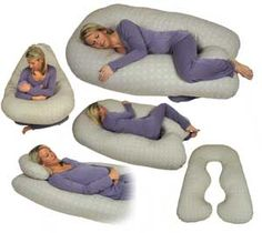 """Full-body pillows. They are in the shape of the letter """"U,"""" meant to fit around a person's sides and provide a place to rest the head. Full-body pillows are also used in many convalescent homes for confused patients who tend to rise out of bed and are at risk of falling, due to lack of motor skills."""