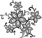 beautiful black and white floral pattern design element.