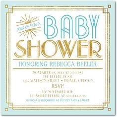 Plan a glamorous art deco themed baby shower with this new invitation from Tiny Prints!