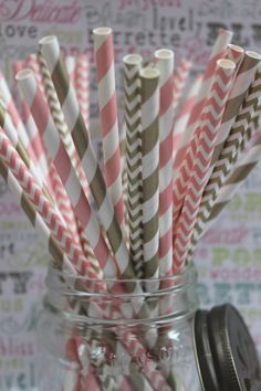 100 Gold and Blush Pink Party Straws in Stripes and Chevron - Wedding Straws with Printable DIY Flag Toppers - 50 ea. design
