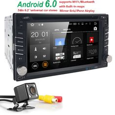 1G RAM Double 2 din Android 6.0 Car DVD player GPS Stereo Quad Core 6.2 INCH 2 DIN Universal Audio Radio 16G Automotive wifi cam #Affiliate