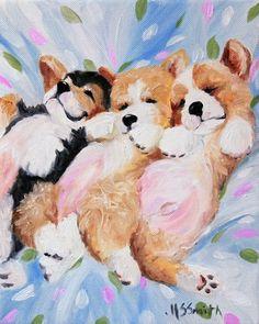 PRINT Pembroke Welsh Corgi Dog Puppy Art Oil Painting / Mary Sparrow Smith