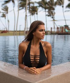 d7ba63b1586 Add a touch of luxe at the beach or pool this season with this black one ·  Viki OdintcovaBoardBlack One Piece SwimsuitFashion ...