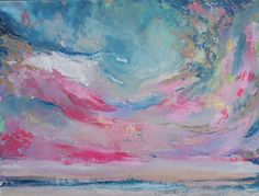 Abstract Skyscape in Pink and Blue by annieflynn1 on Etsy, $195.00