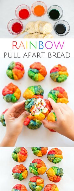 Easy One Ingredient Mini Rainbow Pull Apart Bread. Such a fun and colorful treat that kids will love making and eating as well!