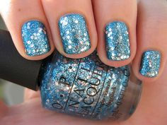 Blue Sparkly Nails