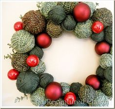 Holiday Yarn Wreath. Hey Kathy Tik, I found a use for all your leftover yarns!  Ridge Rascals