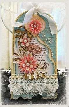 this just gave me an idea to do a tag-sized birdcage tag -dls Peach Delicate Asters Tag by Sarah Miller