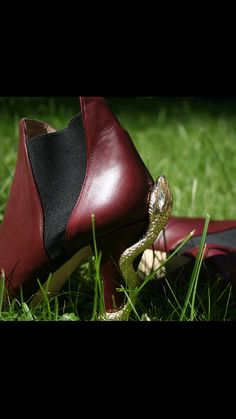 Lamperti Milano Reptilia Boots burgundy leather FW15