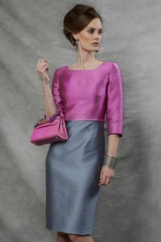 Silk Dress in Peony and Graphite Sateen with Sleeves - Angela