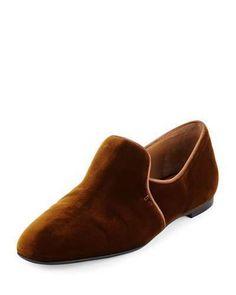 THE ROW Alys Leather Slipper Flat, Black Velvet Slippers, Leather Slippers, Smooth Leather, Brown Leather, Black Flats, Black Rubber, Womens Flats, Wedge Heels, Loafers Men