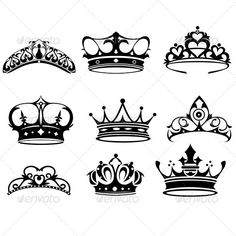 Buy Crown Icons by artisticco on GraphicRiver. A vector illustration of crown icon sets. Vector illustration, zip archive contain eps 10 and high resolution jpeg. Princess Crown Tattoos, Queen Crown Tattoo, Crown Silhouette, King And Queen Crowns, Crown Drawing, Tiara Drawing, Crown Tattoo Design, Graphic Design Art, Tattoo Ideas