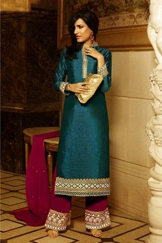 Dark Blue Colour Banglori Silk Fabric Designer Unatitched Salwar Kameez Comes With Matching Dupatta and Bottom Fabric. This Suit Comes as Unstitched and It Can Be Stitched Up To Size 42....