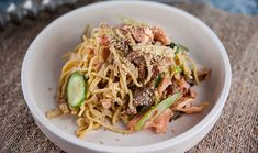 2 x piece of salmon, skin on pack of thin Hokkien noodles 1 Lebanese cucumber, chopped into rounds on an angle 3 spring onion, finely chopped on an… Salmon Pasta, Salmon Dinner, Tilapia Recipes, Fish Recipes, Seafood Recipes, Salad Recipes, Recipies, Quick Recipes
