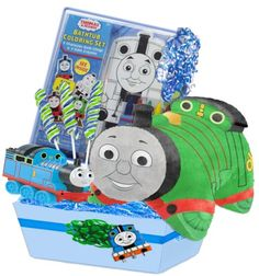 Thomas Boy's Deluxe Thomas The Train Gift Basket, Featuring Percy Genuine Pillow Pet The Thomas The Train Ultimate Gift Basket Will Be A Great Boys Gift For A Young Engineer. Sent As A Boys Birthday Gift Or Boys Christmas Gift, This Will Be Sure To Bring A Smile.. Included: Genuine Thomas The Train Pillow Pet, Bath Gift Set, Thomas Train Pull'n Ride, Thomas Pez Candy. Suggested For Ages 3 And Up... #BabyBoutique® #BabyProduct