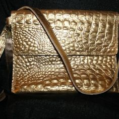 IPAD Crocodile Leather Messenger Bag, available in Gold, Black and White. See website for more!