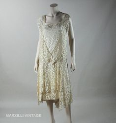 1920's Honey Silk Lace Dress With Ivory Silk Charmeuse Underdress from marzillivintage on Ruby Lane